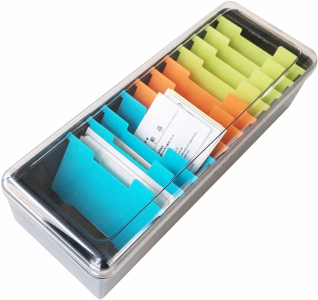 Caja organizadora para tarjetas de visita, gran capacidad para 500 tarjetas, caja de almacenamiento de tarjetas de índice, 11 separadores: Amazon.es: Oficina y papelería