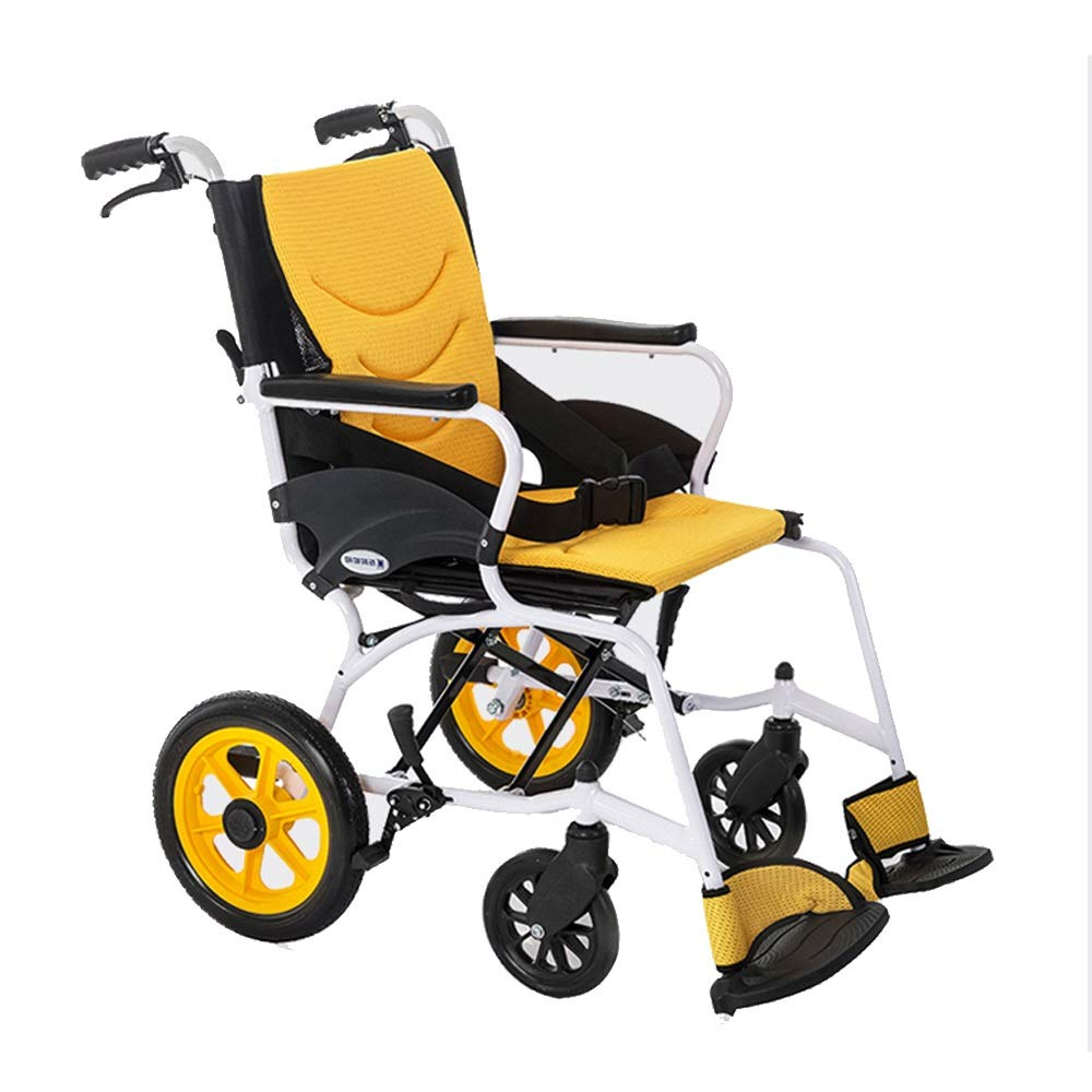 XXHDEE Wheelchair Portable Aluminum Alloy Elderly Disabled Travel Brochure Handrail Lightweight Folding Transport Travel Self-propelled Walking aids (Style : Small Wheel) by XXHDEE