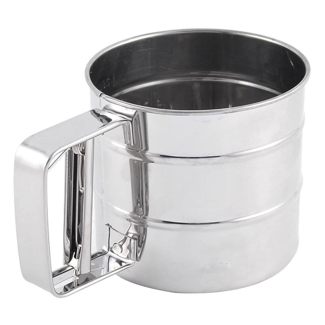 Aço inoxidável DealMux Home Kitchen Baking Farinha Açúcar malha Sifter Shaker tom de prata