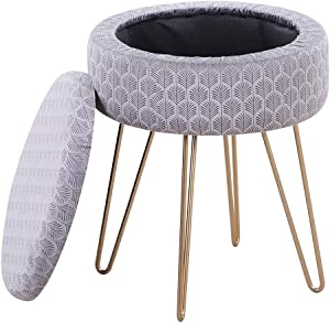 Mxfurhawa Velvet Round Footrest Stool Ottoman, Modern Upholstered Vanity Pouffe Stool Storage Function Side Table Seat Dressing Chair for Bedroom Living Room with Golden Metal Leg (Grey)