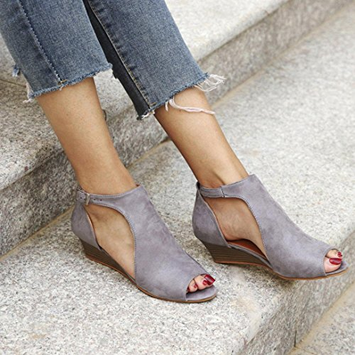 Lolittas Summer Gladiator Wedge Leather Sandals for Women,Roman Fluffy Mid Heel Embellished Ankle Strappy Open Toe Wide Fit Slingback Shoes Size 2-10 Gray