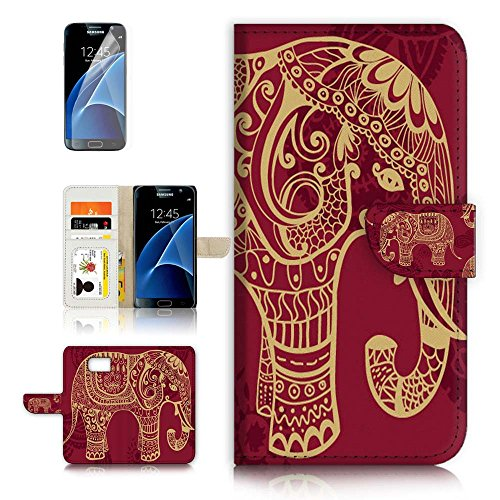( For Samsung S7 , Galaxy S7 ) Flip Wallet Case Cover & Screen Protector Bundle - A21111 Indian Elephant