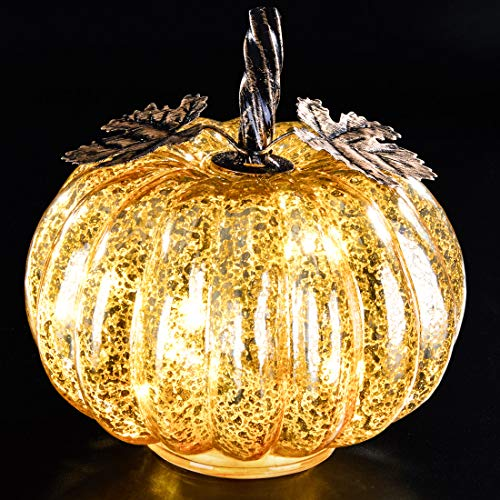 denlix Mercury Glass Pumpkin Lights Fall Decor, Battery Operated LED Timer 5.5 Inches Decorative Pumpkins, Fall Centerpieces for Tables Decorations (Table Small Decorations)