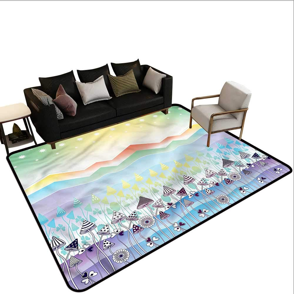 "B07SHDFBZS Floral,Floor mats for Kids 48""x 72\"" Spring Sky with Stars Rubber mat 61rr4YRXnwL._SL1000_"