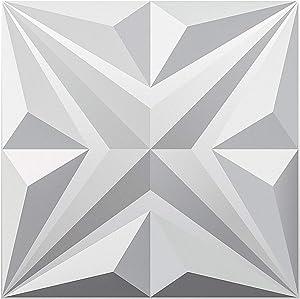 Art3dwallpanels 3D Wall Panels, Star Textured White PVC Wall Panels for Interior Wall Decor, Pack of 12 Tiles 32 Sq Ft