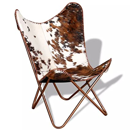 Butterfly Chair Real Cowhide Leather Brown And White Butterfly Chair Office  Chair Dimensions: 29.1u0026quot;