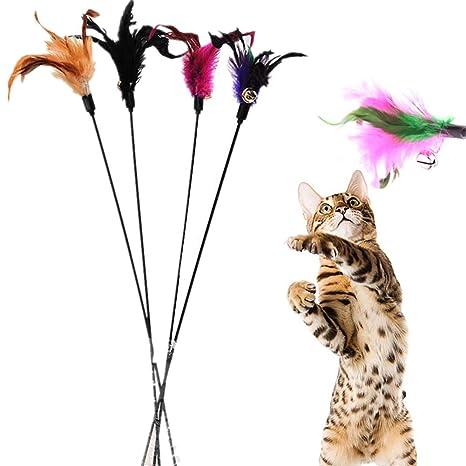Fablcrew Palillos de Juegos para Gatos Juego Interactivo Divertido para Gatos Varita con Punta con Plumas
