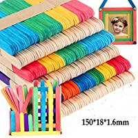 WellieSTR 500pcs 150x18x1.6mm Wood Popsicle Ice Cream Hand Crafts Art Spoon Lolly Pack Cake Making Sticks Holder Colorful Kids Hand Crafts Art Tool