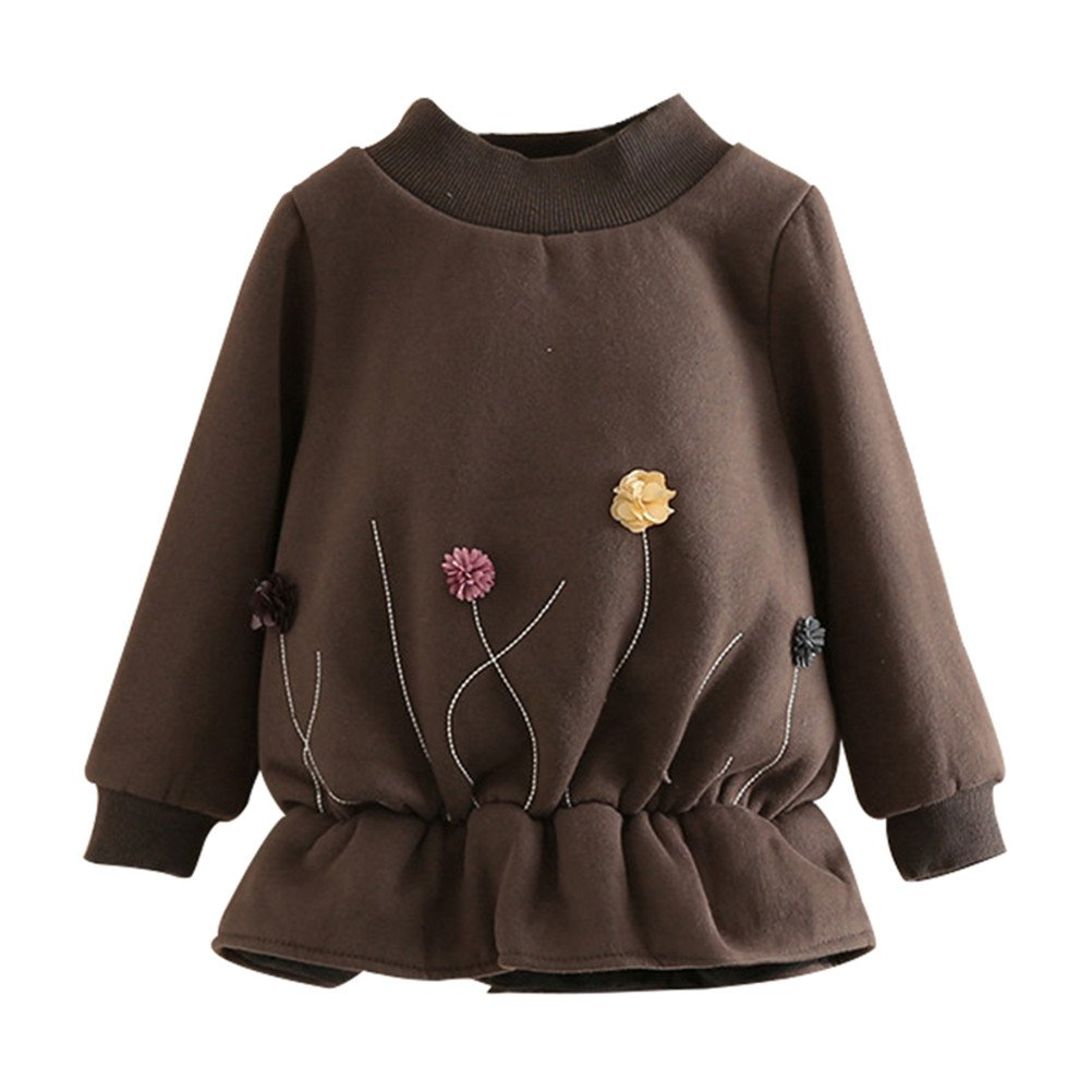 SPRMAG Kids Girls Flower Dresses Long Sleeve Sweatshirt Pullover Turtleneck Undershirt 7-8T Coffee