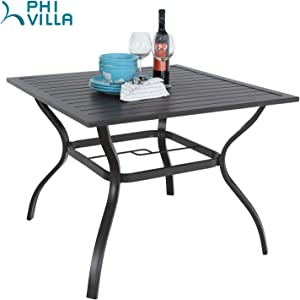 """PHI VILLA 37"""" x 37"""" Patio Outdoor Dining Table with Umbrella Hole, Square Bistro Metal Steel Slat Table for Garden Backyard Poolside Deck"""