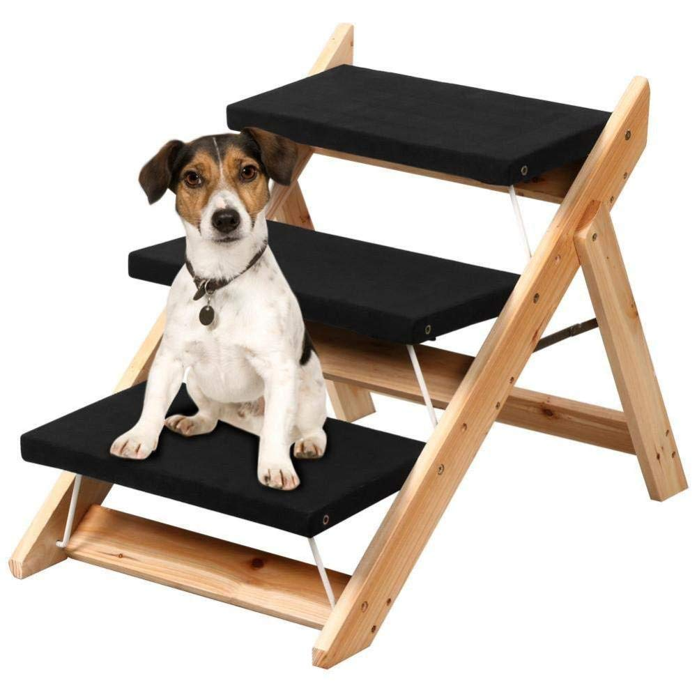 ACZZ Ladder Pet Stair, 3 Steps Training Stair Portable Folding Iron Bracket for Small and Medium Pets,A,Ladder