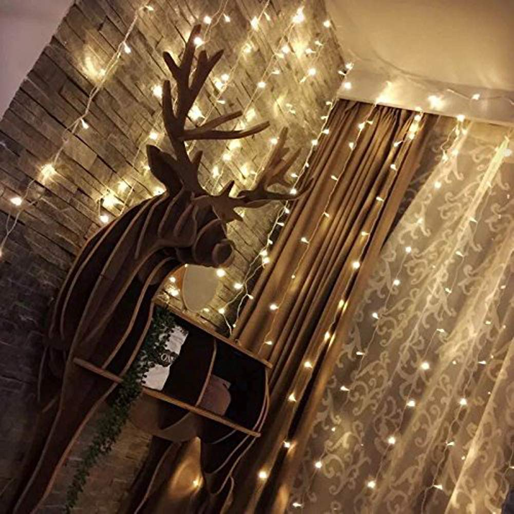 Twinkle Star 300 LED Window Curtain String Light Wedding Party Home Garden Bedroom Outdoor Indoor Wall Decorations, Warm White by Twinkle Star (Image #2)