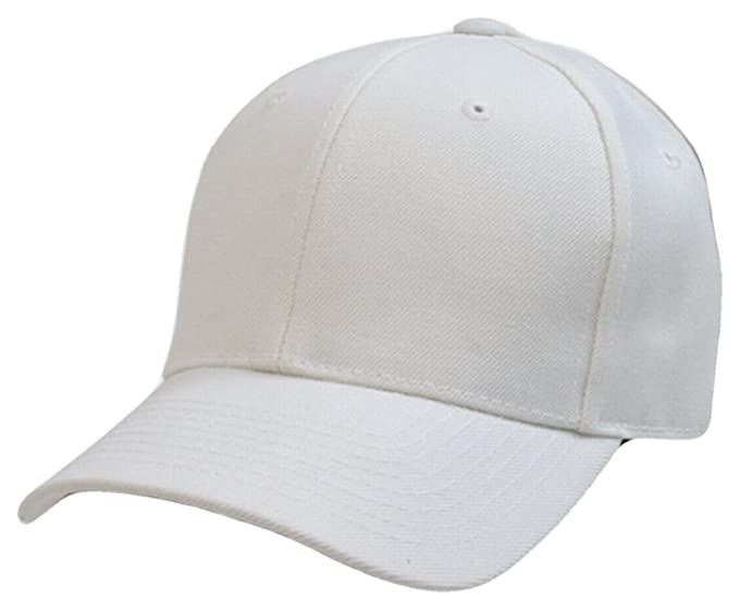 Plain Solid Fitted Baseball Cap White (Size 7 5 8) at Amazon Men s ... a2f4510b975