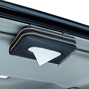 U/&M Car Tissue Box Holder Black /& Red Line Premium Leather Zipper Sun Visor Napkin Holder Backseat Tissue Case Car Accessories