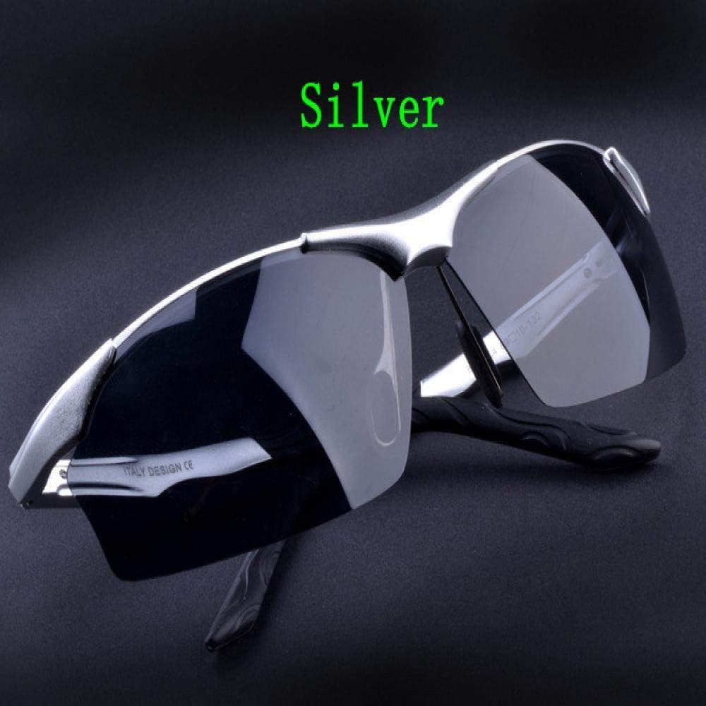 Lunettes de soleil polarisées de mode masculine rétro aluminium magnésium lunettes de soleil pour hommes Argenté.