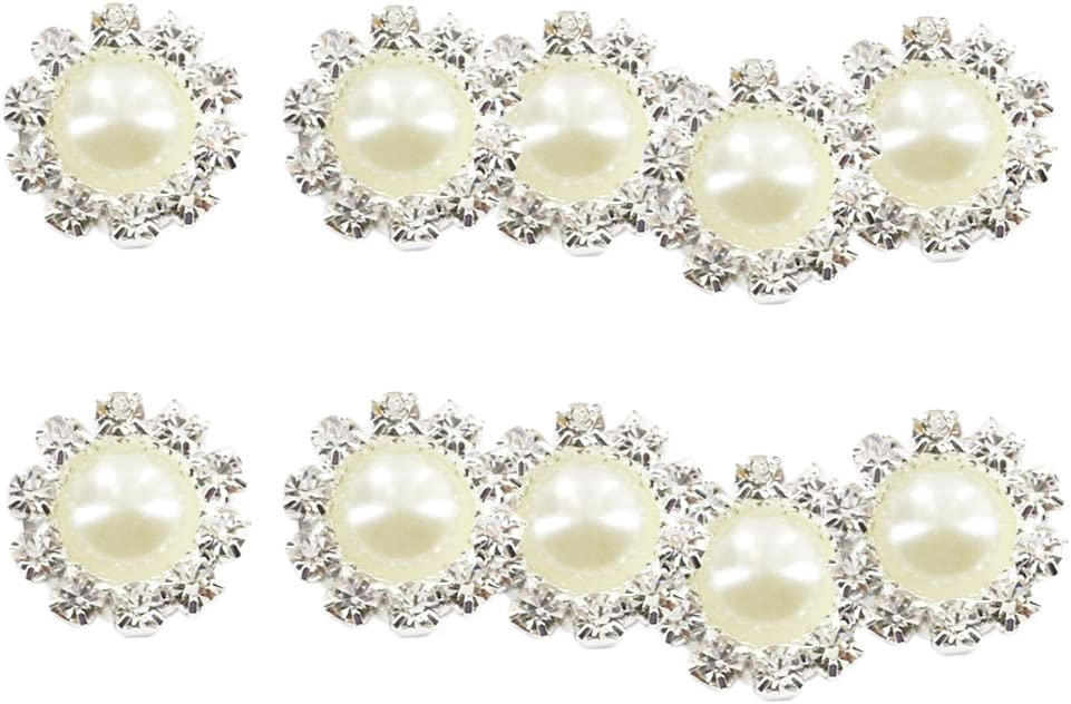 sharprepublic 10pcs Botones Flores Rhinestone en Relieve Botón de Flor Cabochon Flatback Piedras Preciosas DIY Deco 22mm