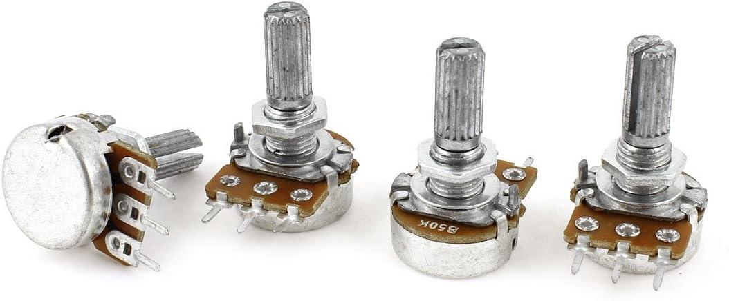 4Pcs Knurled Shaft Linear Rotary Taper Potentiometers B50K 50K Ohm