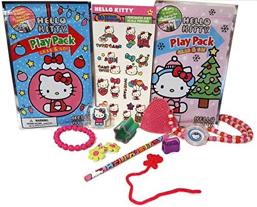 HELLO KITTY Activity Bundle Play Packs Pencil Eraser Tattoos bracelet hair clips lip gloss & More 13pc Travel Stocking Stuffers Birthday - Hair Gloss Colouring