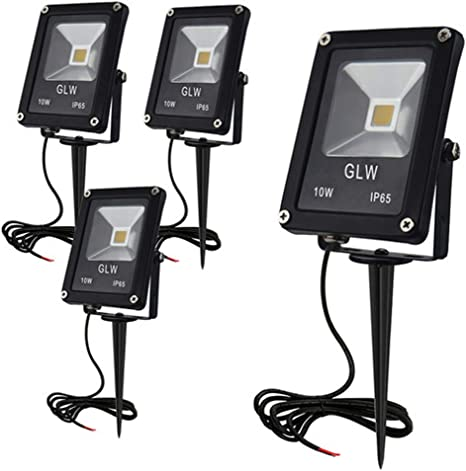 LED Outdoor Exterior Garden Spike Light Ground Adjustable Lighting Kit IP65 x 4