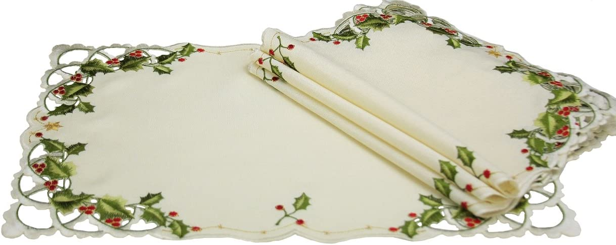 Xia Home Fashions Winter Berry Christmas Placemats, 12 by 18-Inch, Set of 4