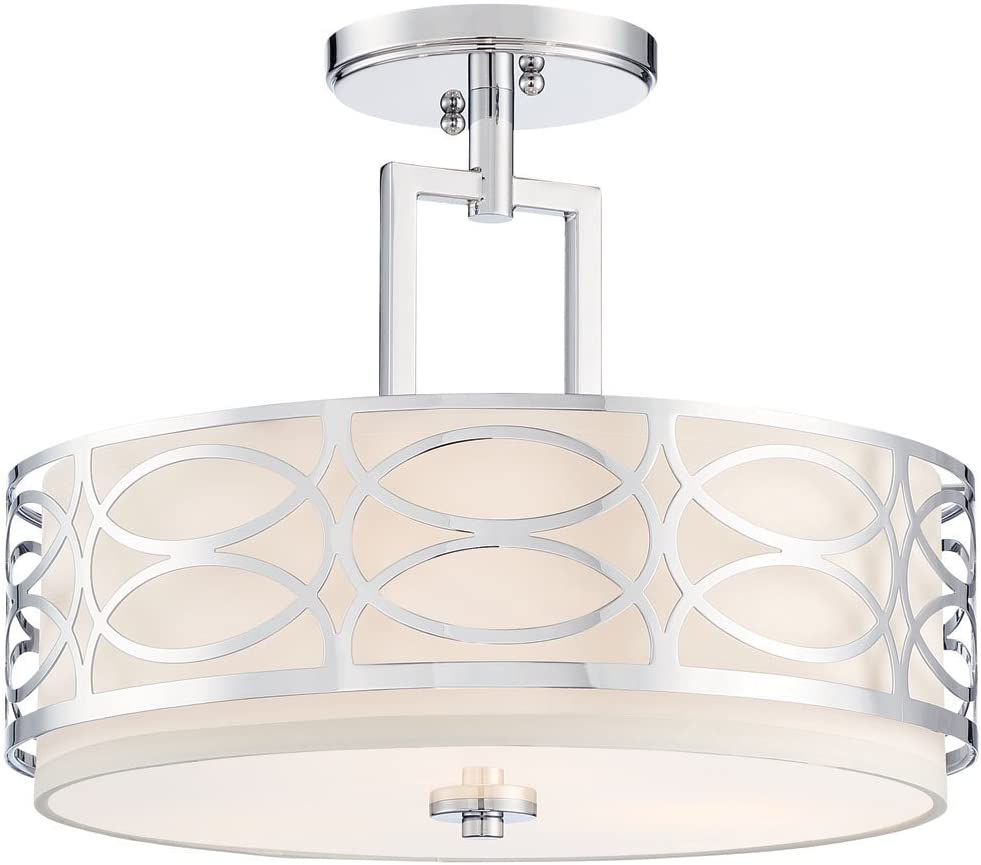 "Kira Home Sienna 15"" 3-Light Semi Flush Mount Ceiling Light, White Fabric Shade + Glass Diffuser, Chrome Finish"