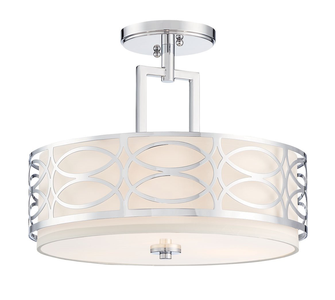 "Kira Home Sienna 15"" 3-Light Semi Flush Mount Ceiling Light + Glass Diffuser, Chrome Finish"