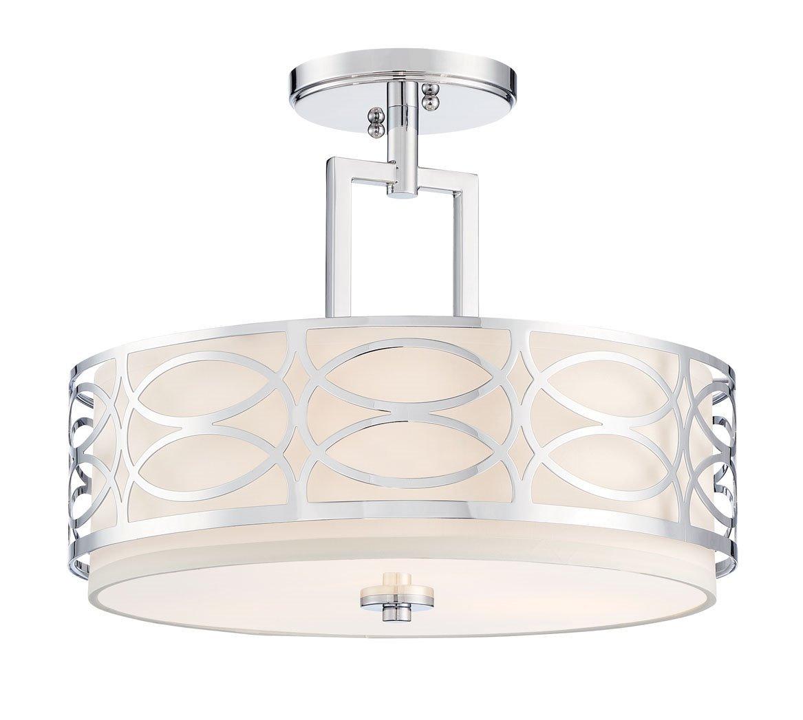 Revel Sienna 15'' 3-Light Semi Flush Mount Ceiling Light + Glass Diffuser, Chrome Finish