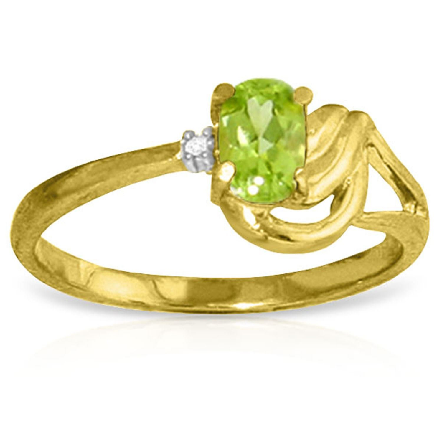 ALARRI 0.46 CTW 14K Solid Gold Here Comes Love Peridot Diamond Ring With Ring Size 8.5
