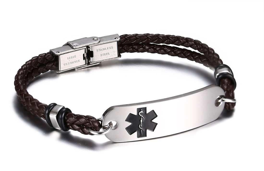 JF.JEWELRY Medical Alert ID Bracelets for Men 2-Layers Brown Leather Woven Link-Free Engraving