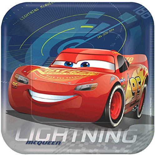Ultimate Cars 3 Party!!!Birthday Party Decoration Supplies Bundle Pack with 16lg&16sm Plates 16-9oz Cups, Matching Table Cover&Jumbo Banner,50 Napkins(Bonus Matching Party Straw Pack)