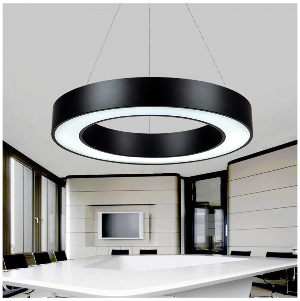 H.Q シンプルなペンダントライト新しいオフィス照明シャンデリアledレストラン天井照明用リビングルーム寝室家庭用 - 黒   B07TT59P9X