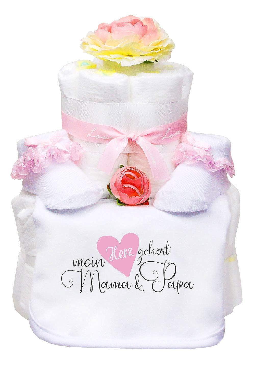 Windeltorte Boho Blumen Mädchen Lätzchen+Babysocken Mein Herz gehört Mama/& Papa