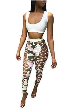 c0476e5da233e Image Unavailable. Image not available for. Color: LAMISSCHE Womens Sexy  High Waist Lace up Bodycon Pants Camo Skinny ...