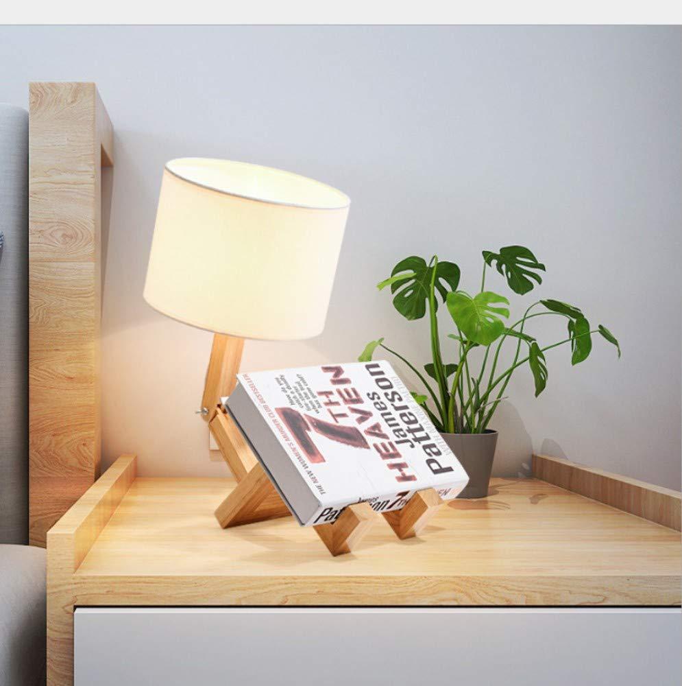D Beleuchtung Tischlampe Schlafzimmer Nachttischlampe Stoff Studie Massivholz Kreative Beleuchtung Led Dekoration Mode Tischlampe, D