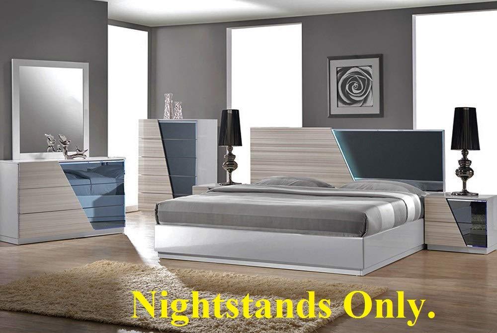 California Tradeworks Modern Manchester 2 Nightstands Zebra Grey Color Bed Side Nightstand.