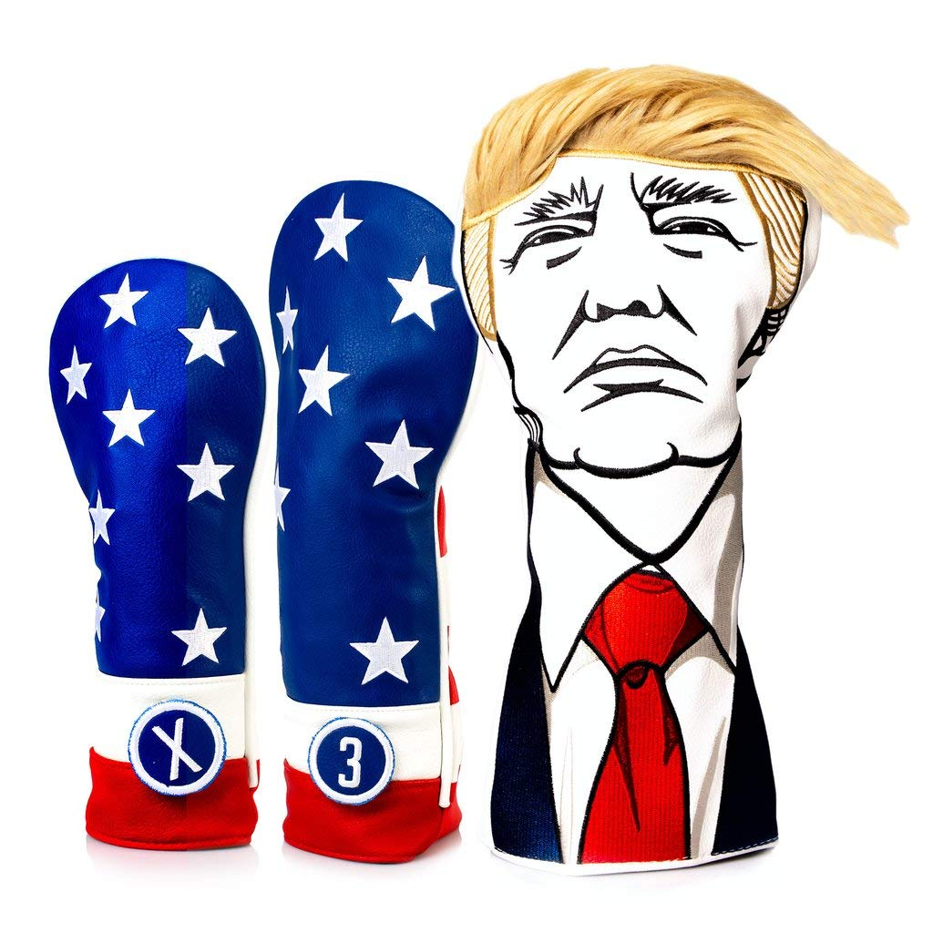 Pins & Aces Golf Co. Keep America Great Premium Driver Headcover - Leather, Hand-Made 1 Wood Head Cover - Style and Customize Your Golf Bag - Tour Inspired, Donald Trump Golf Design (USA Set) by Pins & Aces Golf Co.