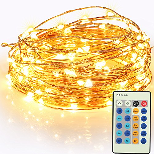 Remote Control LED String Lights 49ft 150 LEDs GRDE Dimmable Copper Wire Lights Festival Decorative Lights for Party, Patio, Deck (1 Pack, Warm white))