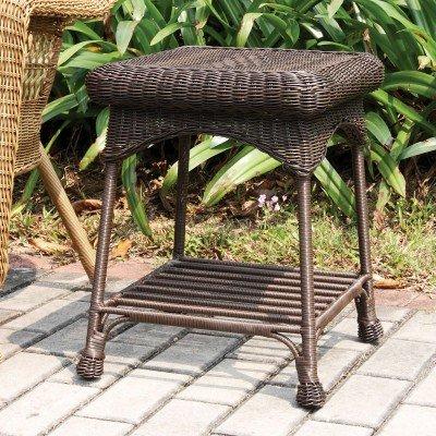 Outdoor Espresso Wicker Patio Furniture End Table ()
