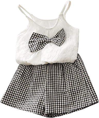 Luckycat Camisa para Niñas Niños recién Nacido Bebé Niña Manga Corta Blusa Suelto Camisetas algodón Tops para Chica Muchacha Verano Conjuntos de Ropa Bowknot Blusas + Pantalones Cortos Traje: Amazon.es: Ropa y