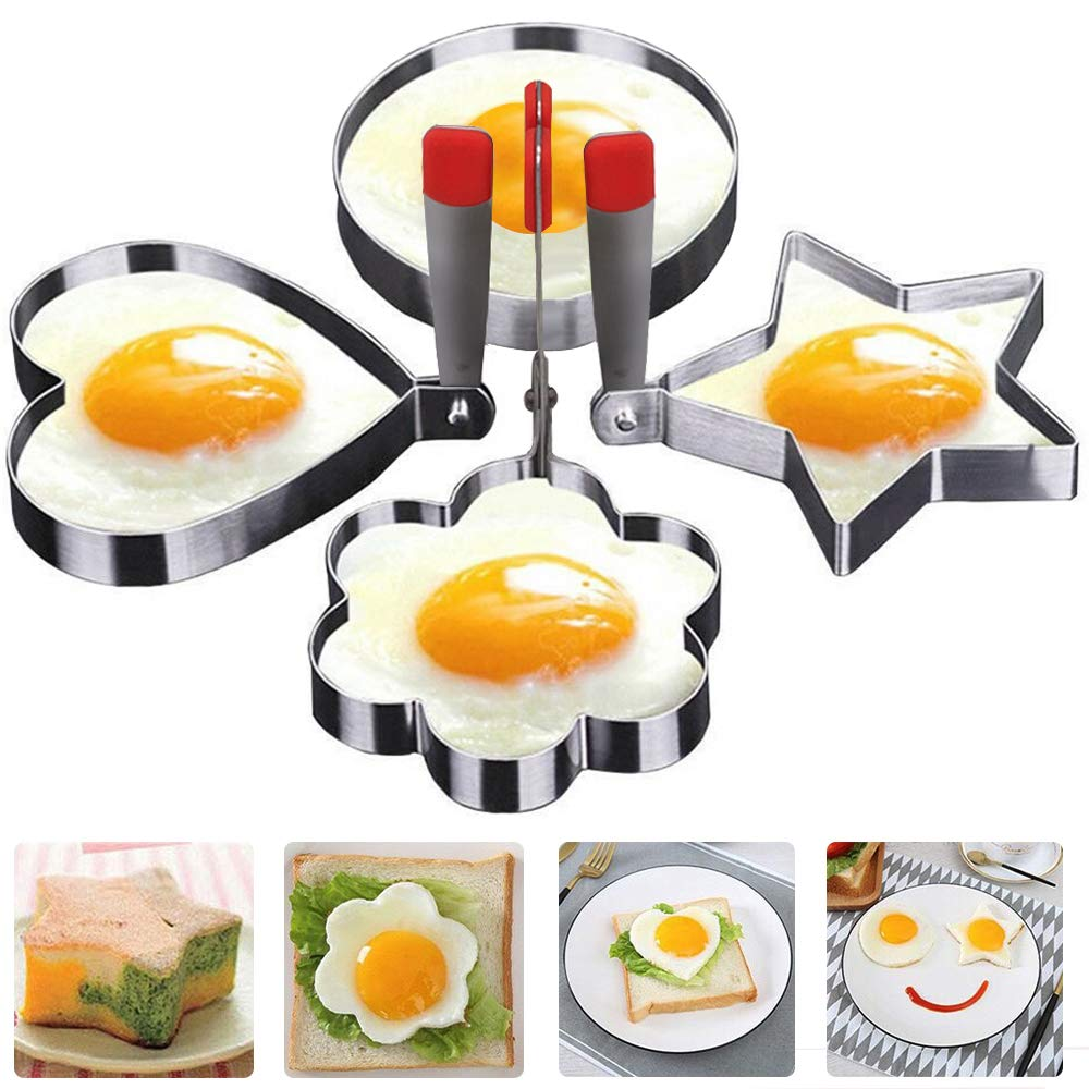 Egg Mold Ring with Handle, Non-Stick Fried Egg Poachers Stainless Steel Omelet Mould Pancake Rings Metal Cooking Sandwich Shaper for Kitchen Breakfast (4 Shapes)