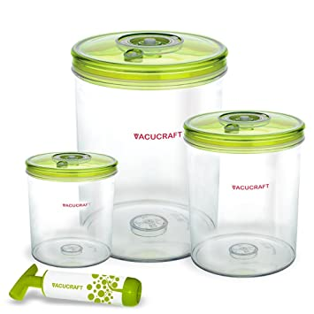 Amazoncom Vacucraft 4 Piece Cylinder Vacuum Food Container Set