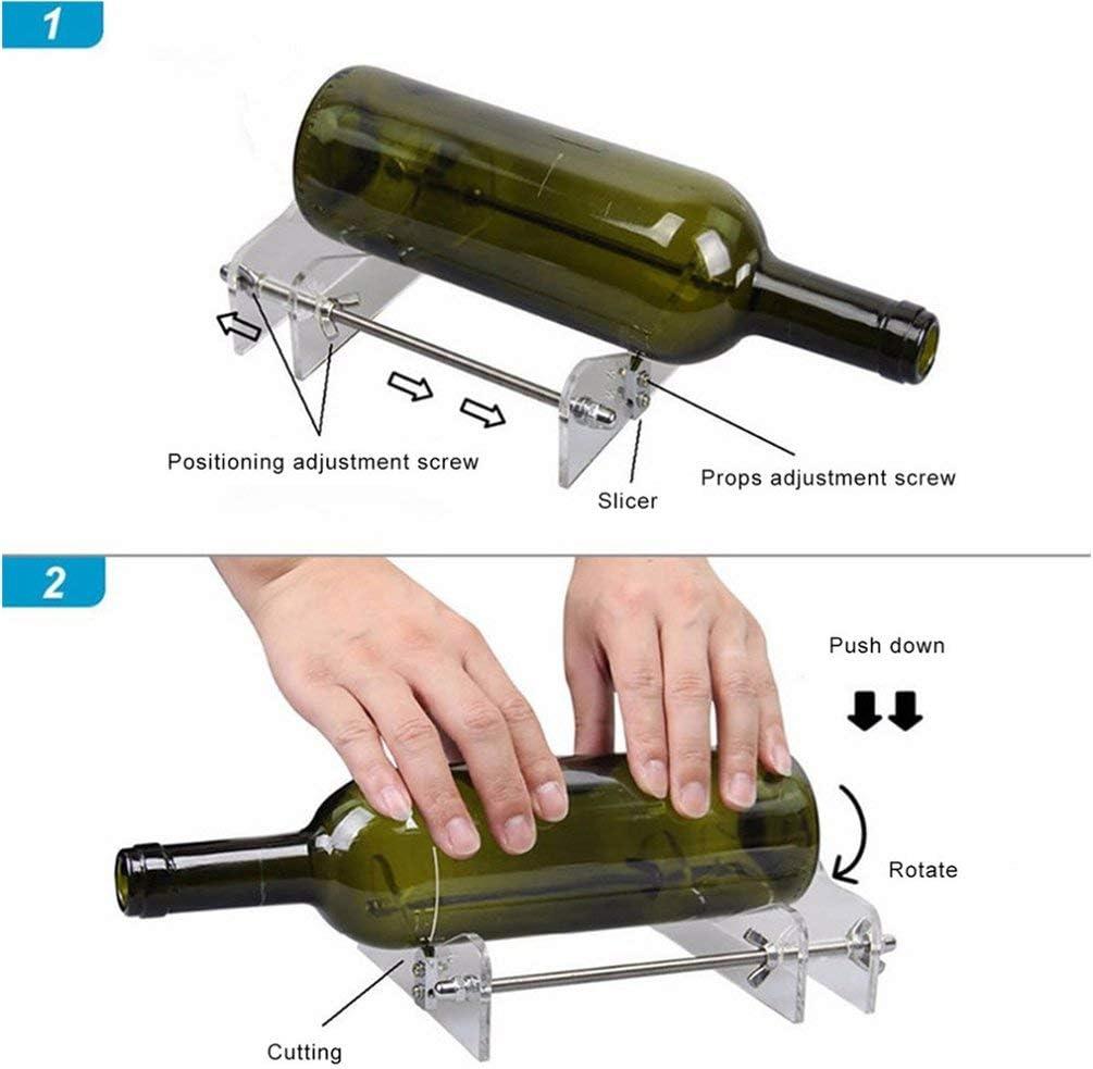 Queenaal Vidrio Creativo Botella de Cerveza de Vino Reciclaje Cortador Esculturas M/áquina de Corte Transparente