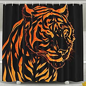 Cool Fire Tiger Art Poster Shower Curtains