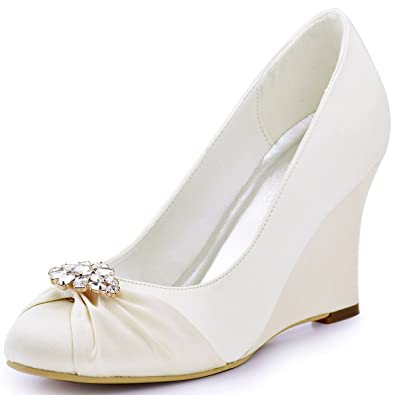 ElegantPark EP2005AL Women Wedges Heel Pumps Closed Toe Crystals Removable Clips Satin Bridal Wedding Shoes Ivory