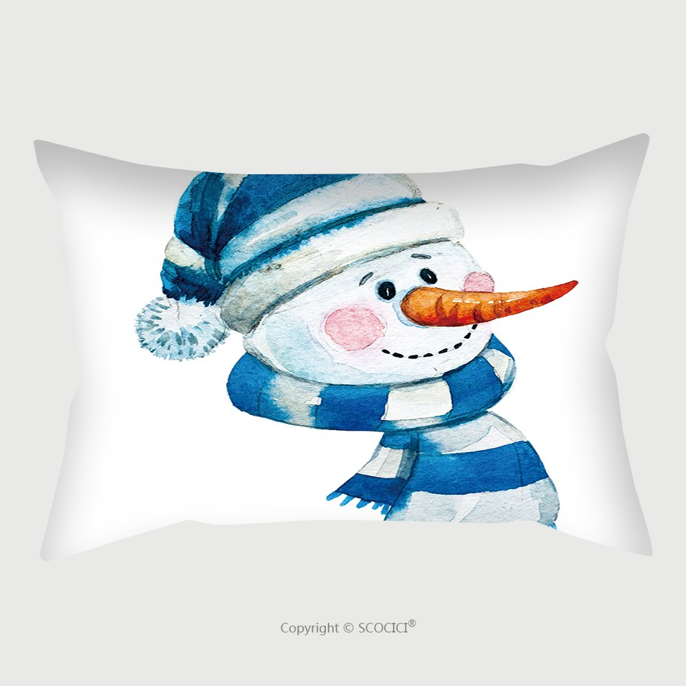 Custom Satin Pillowcase Protector Watercolor Illustration Of A Snowman A Symbol Of The New Year Winter Children S Drawing Face 344406665 Pillow Case Covers Decorative