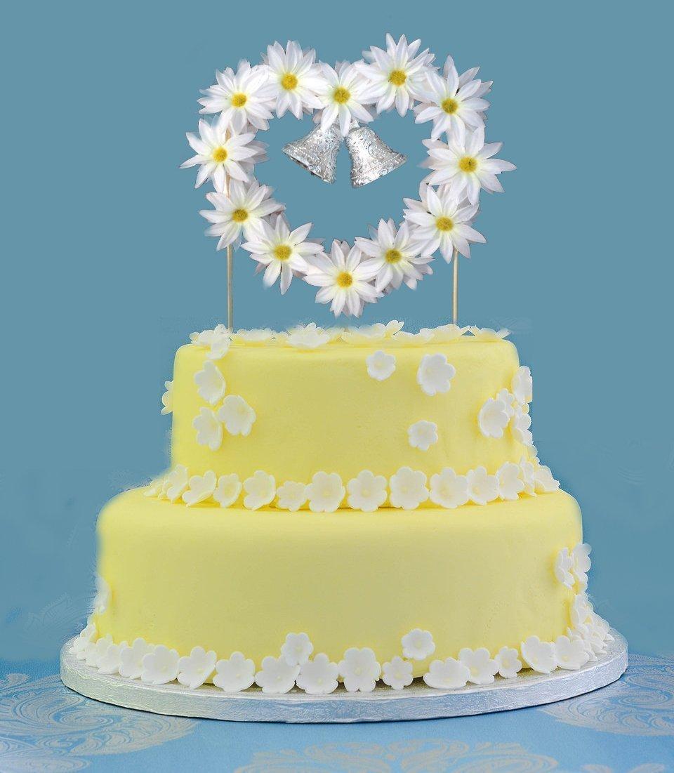 Amazon.com: Wedding Bells Wedding Cake Topper, White Daisies ...