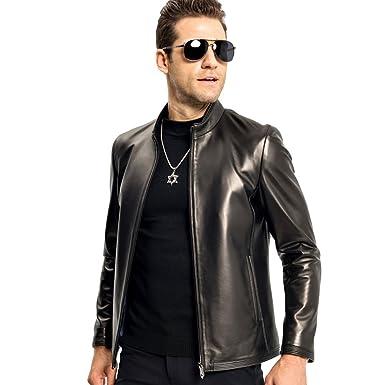 2688b70da54c LINAILIN Genuine Leather Jacket Men Short Style Sheepskin Coat Casual  Motorcycle Jacket (XS