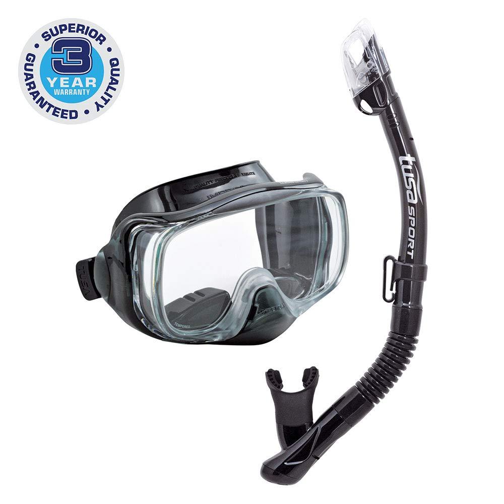 TUSA Sport Adult Imprex 3D Purge Mask and Dry Snorkel Combo, Black/Black by TUSA Sport