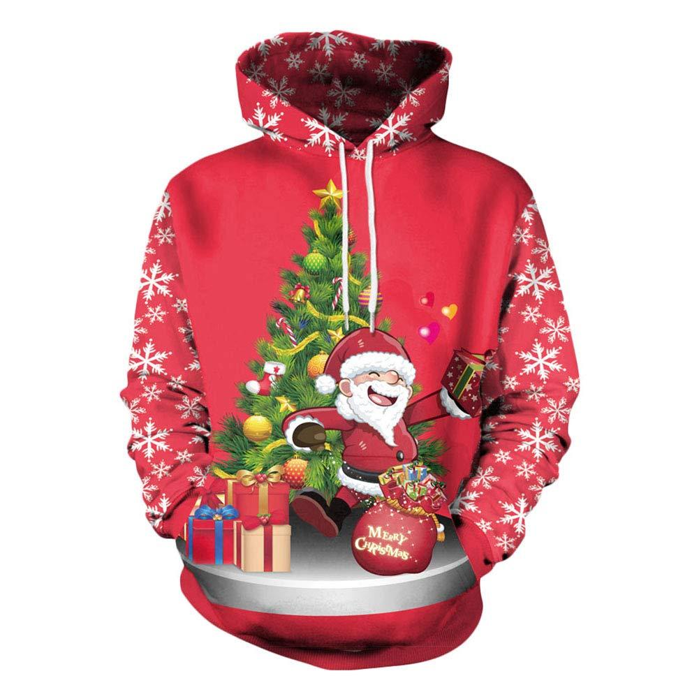 [Weihnachtspullover Damen ] Christmas Sweater für Damen Pullover mit Santa Langarmshirt Weihnachten Sweatshirt Unisex 3D Gedruckt