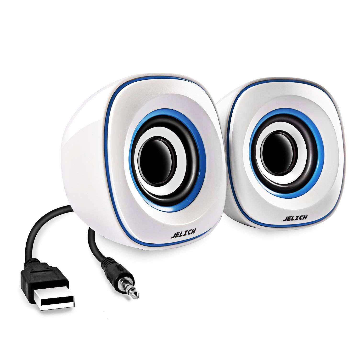 JELICH Mini USB Computer Speakers - Wired USB Powered Multimedia Small Speakers with light music needs for PC /Desktop /Laptops /Smart Phone